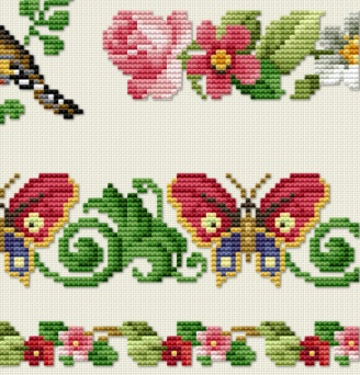 Vintage cross stitch samplers theme